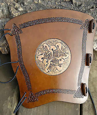 Embossed 2 tone Celtic horses leather archery arm guard,bracer,armguard,larp