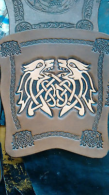 Hand carved 2 tone Celtic dogs leather archery arm guard,bracer,armguard,larp
