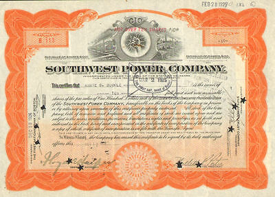 Southwest Power Company   1924 share stock certificate