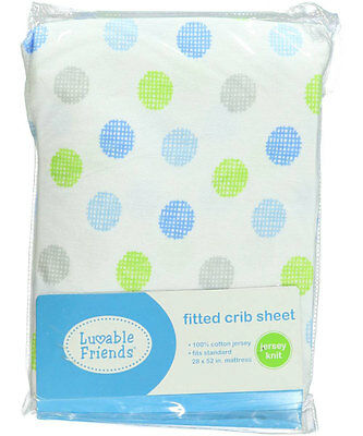 """Luvable Friends """"Crosshatch Dots"""" Fitted Crib Sheet (28"""" x 52"""")"""