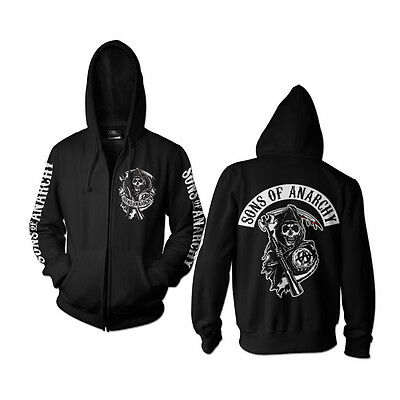 Officially Licensed Sons Of Anarchy Back Patch Zipped Hoodie S-XXL Sizes