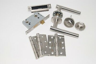 Straight T Bar Door Handle Pack Bathroom Set C/w Hinges FOR 45MM THICK FIRE DOOR