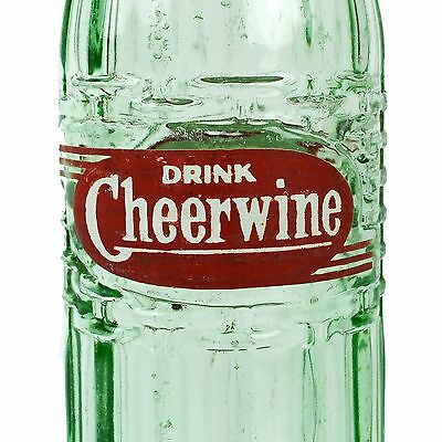 Cheerwine Soda Bottle 8oz Green ACL Cheer Wine North Carolina Old Vintage
