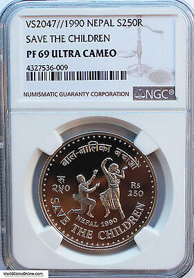 Nepal 1990 Silver 250 Rupee. Save The Children. Ngc Pf-69Ucam.