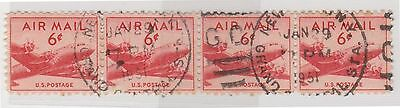 (UST-80) 1948 USA 6c red 4strip mail planes air mail (B)