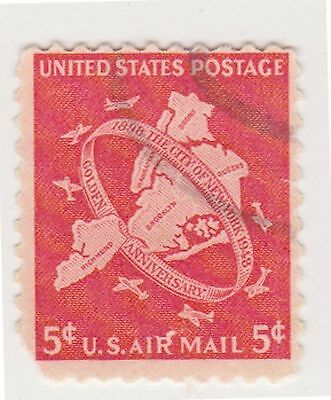 (UST-66) 1948 USA 5c map of NY air mail (D)
