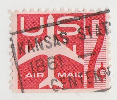 (UST-142) 1958 USA 7c red jet air mail (F)