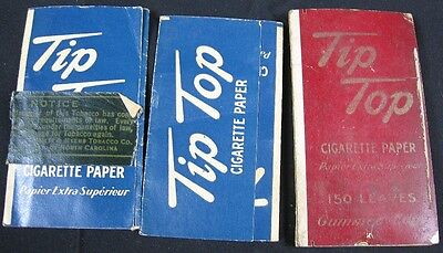 Lot of 3 Vintage 1930's Tip Top 150 Pack Cigarette Rolling Papers