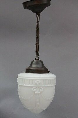 1930s School House Pendant Light w Wreathe Motif Antique Vintage Lighting (9003)