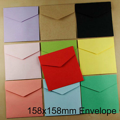 50pcs 158x158mm Square Vintage Gifts Paper Envelopes For Wedding Invitation Card