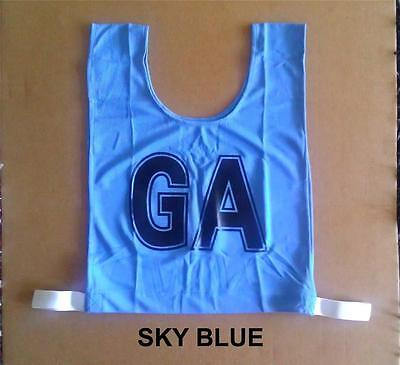 Netball Bibs - Brand New - Mock Mesh - Junior Size - Sky Blue / Black letters