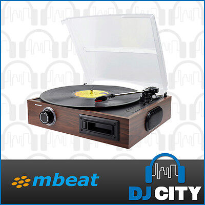 MBeat Vintage Style Vinyl Turntable with Cassette Player, USB and Built-in Sp...
