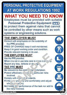 Personal Protective Equipment Work Regs 1992 Poster 3 Sizes Construction Factory