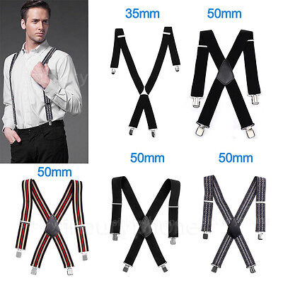 35mm/ 50mm Unisex Mens Men Braces Plain Wide Heavy Duty Suspenders Adjustable UK