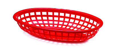 Classic Oval Food Basket Red 24cm x3/6/12/24/36 Burgers Fries Hot Dogs