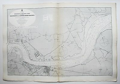 1886 Gravesend Thames Broadness To Muckling Light Antique Admiralty Chart Map