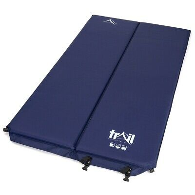 Double Self Inflating Camping Mat Inflatable Sleeping Roll Mattress 5cm Thick