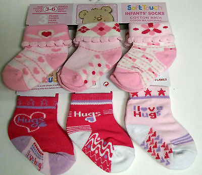 Infant/baby Socks  6 Pair Cotton Rich Girls Socks From Soft Touch 3 Sizes