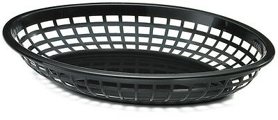 Classic Oval Food Basket Black 24cm x3/6/12/24/36 Burgers Fries Hot Dogs