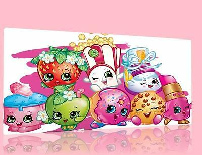 """Single Canvas Picture Wall Art Shopkins 2 Designs Available  8"""" X 16""""  New !"""
