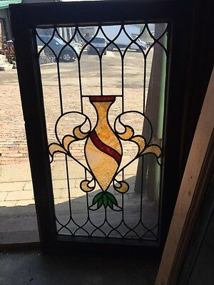 Sg 519 Antique Stainglass Window Depicting A Vase