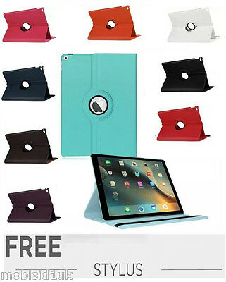 Leather Plain 360 Degrees Rotating iPad PRO Case Cover FREE Stylus pen