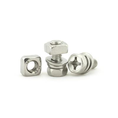Stainless Steel Motorcycle Battery Terminal M6 x14mm Bolt Square Nut Kit Scooter