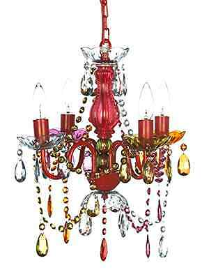Chandelier Lighting Colorful Girls Gypsy Bedroom Light Ceiling 4 Arm Color Beads