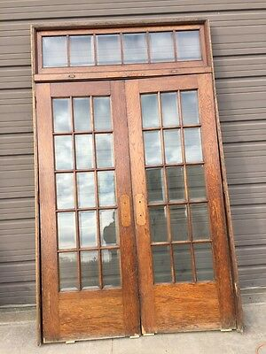 Ar 34 One Beautiful All Oak Beveled Glass Door Set With Transom And Jam