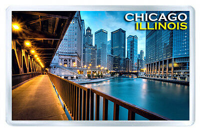 Chicago Illinois Mod6 Fridge Magnet Souvenir Iman Nevera
