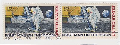 (UST-280) 1969 USA 10c Pair Man on the Moon air mail (E)