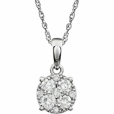 """Diamond Cluster 18"""" Necklace In 14K White Gold (1/5 ct. tw.)"""