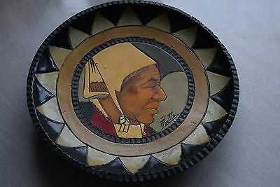 Paul Fouillen Quimper Depose French Pyrographic Wooden Art Deco Bretonne Plate