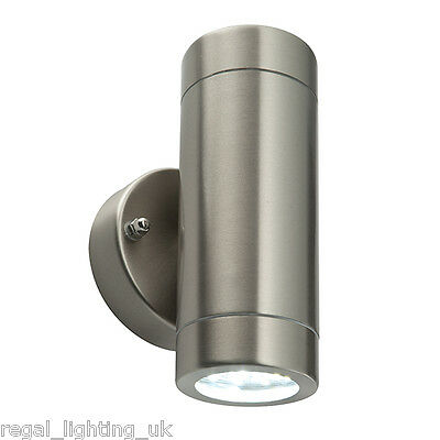LED UP AND DOWN BRUSHED STEEL WALL LIGHT - 2 x 3.5w COOL WHITE IP44 WEATHERPROOF