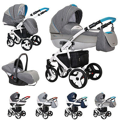 Baby Pram Buggy Pushchair Stroller Travel System 3in1 Florino Carbon  by Coletto