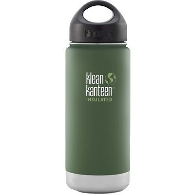 Klean Kanteen 16Oz 473Ml Green Stainless Steel Insulated Flask Bushcraft Camping