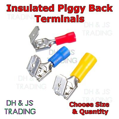 Insulated Piggy Back Terminals Electrical Splice Crimp Connector Wiring 6.3mm