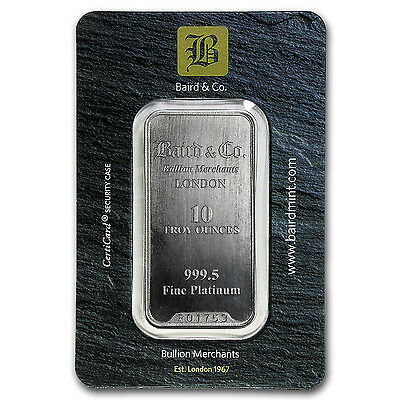 10 oz Platinum Bar - Baird & Co. (In Assay) - SKU #66153