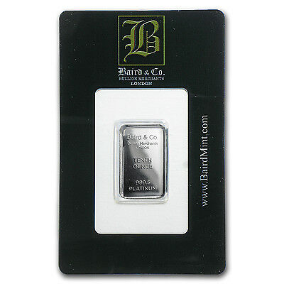 1/10 oz Platinum Bar - Baird & Co. (In Assay) - SKU #95619