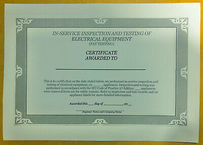 50 PAT Test Certificates, printed on 180gsm coloured card