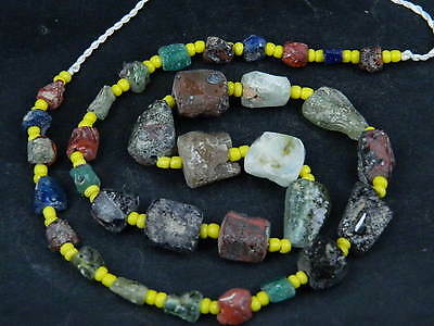 Ancient Fragment Glass Beads Strand Roman 200 BC  #BE1354