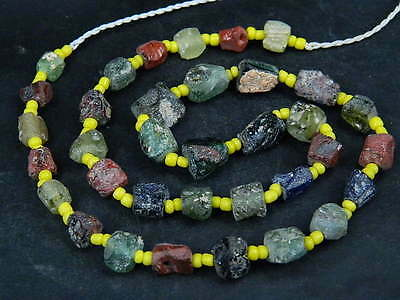 Ancient Fragment Glass Beads Strand Roman 200 BC  #BE1350