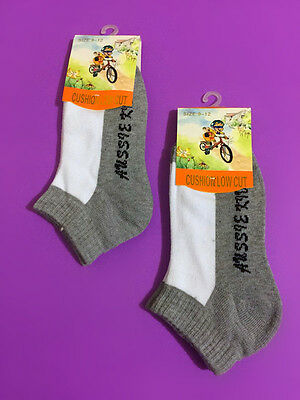 2 Pairs Boys Girls Kids Low Cut Ankle Sports School Socks Grey Color Size 9-12
