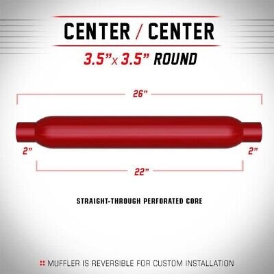"2"" 3.5"" Round 22"" Cherry RedPack Universal MagnaFlow Exhaust Bomb Silencer"