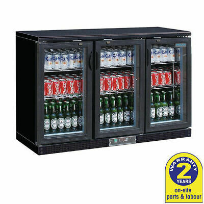 Bar Fridge Undercounter 3 Glass Hinged Door 320L Black Polar Commercial Cafe