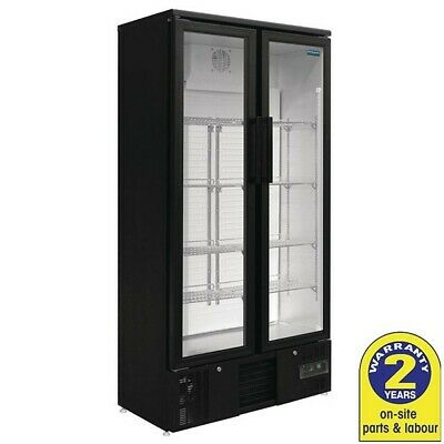 Fridge 2 Glass Hinged Door 490L Black Commercial Polar Display Drinks Cafe Bar