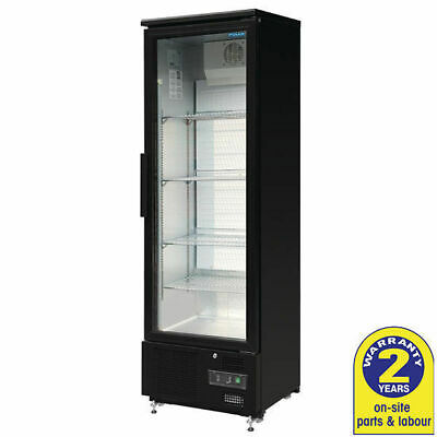 Fridge 1 Glass Hinged Door 307L Black Commercial Polar Display Drinks Cafe Bar