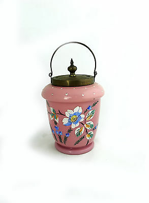 Antique Victorian pink cased glass biscuit jar hand painted enamel flowers
