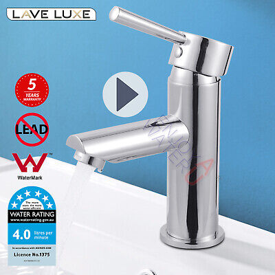 Bathroom Round Chrome Basin Mixer Tap Flick Vanity Faucet Sink WELS Watermark