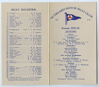 1931-32 Outboard Motor Club Of South Australia Race Programme Boat Register.
